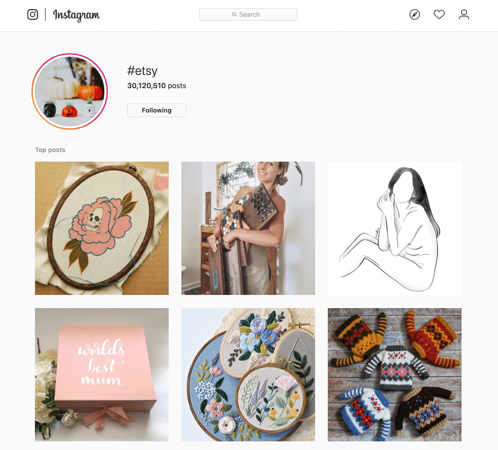 Use the #Etsy hashtag on Instagram to find great Etsy finds