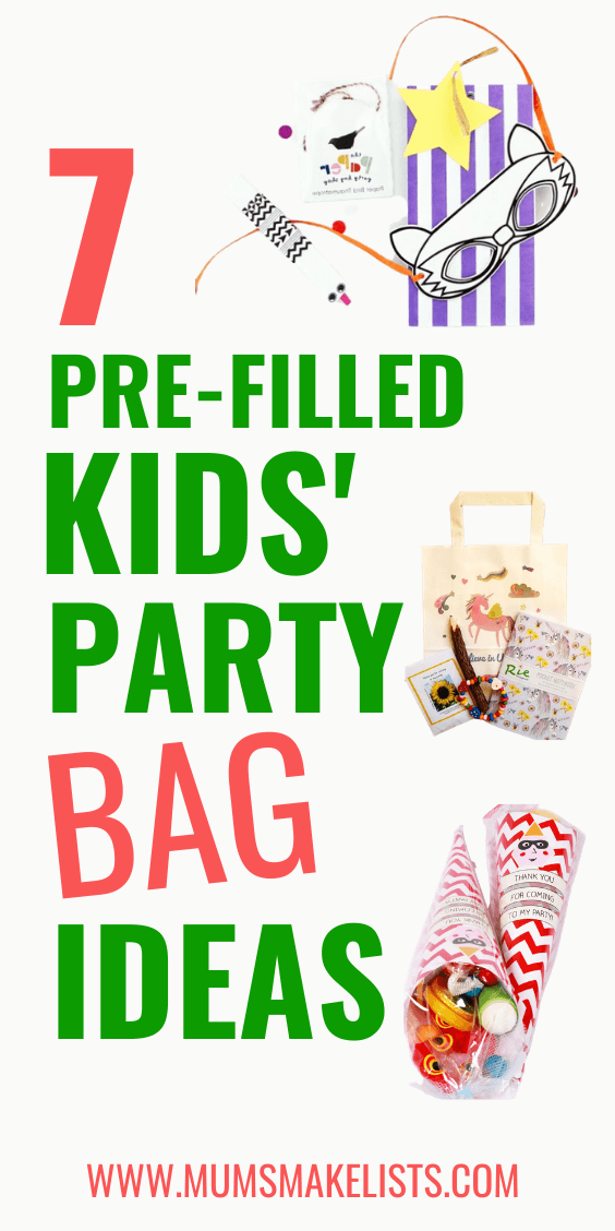 pre-filled kids' party bags, creative ideas for kids' party bags, pre-filled kids' party favors, pre-filled kids' party favours