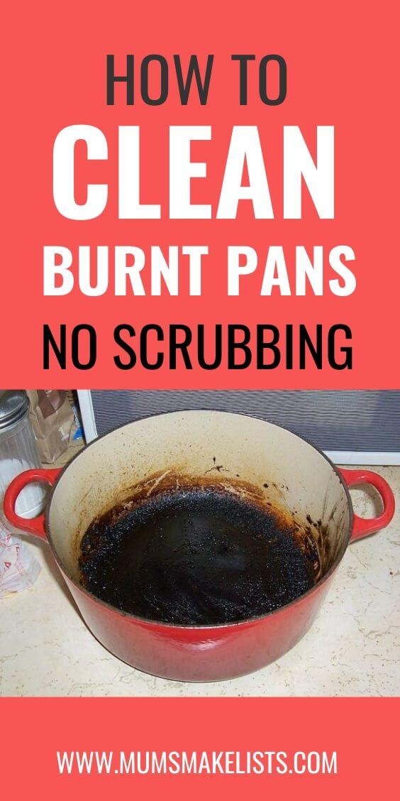 how to clean burnt pans, how to clean baked on grease from pans, remove burnt food from bottom of saucepans