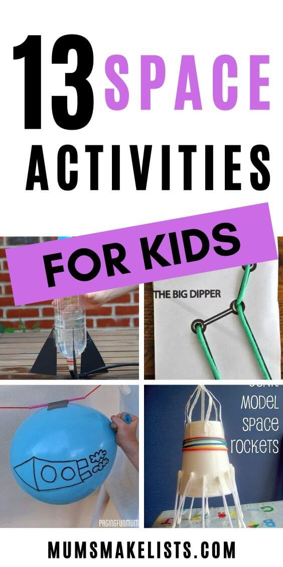 13 SPACE ACTIVITIES FOR KIDS, STEM ART CRAFT FUN GAMES FOR KIDS TO LEARN ABOUT OUTER SPACE STEAM