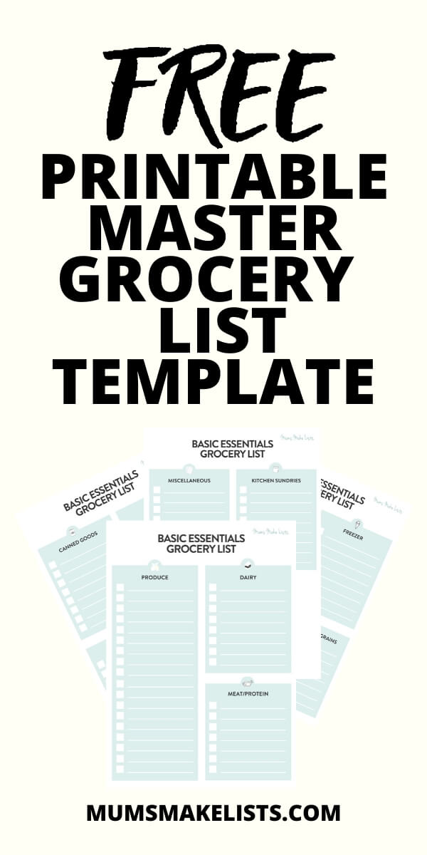 Free printable master grocery list template, free shopping list template, weekly shopping list template, essential food items, grocery essentials list, basic food shopping list