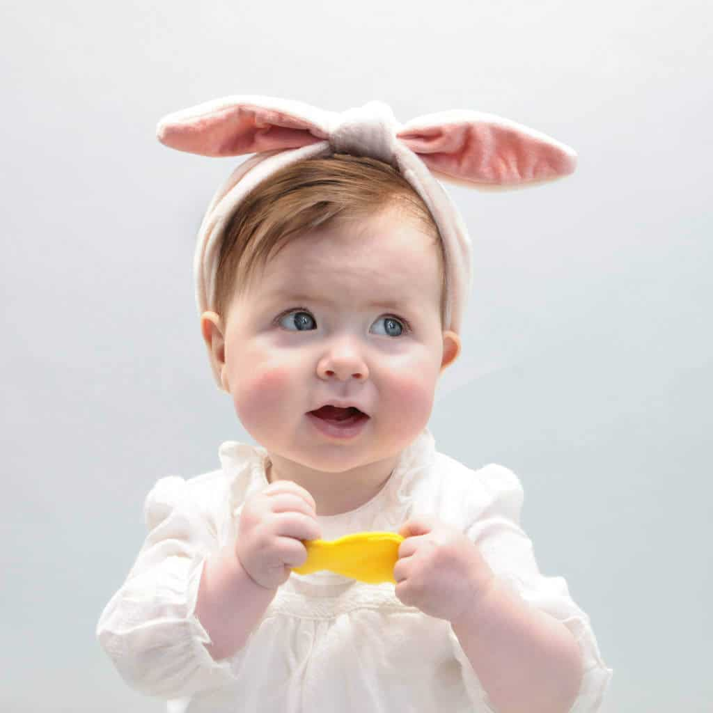 Easter velvet bunny ears headband, Easter baby bunny headband, Easter gift ideas for babies, non-chocolate gift idea, non-chocolate Easter gift ideas, gift ideas for baby