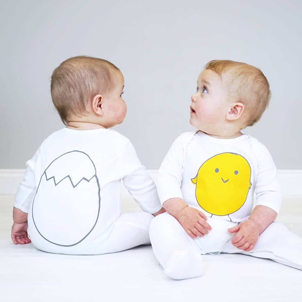 Little Chick baby sleepsuit, Sparks and daughters, easter gifts for babies, easter gift ideas, non-chocolate easter ideas