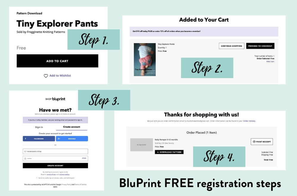 Baby clothes patterns, Free baby clothes patterns, Free baby sewing patterns, Bluprint FREE registration process, how to register for free with BluPrint, Is Bluprint worth it, How does BluPrint work.