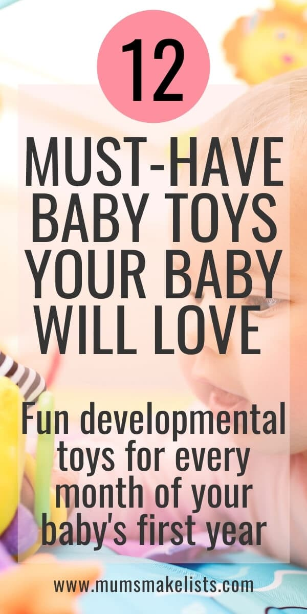 Big list of 12 must-have toys for babies, age-appropriate, developmental baby toys that are fun to play with. Best-selling, recommended baby toys, best baby toys newborn, one-month, two month, three-month, four-month, six-month, ten-months, 12-months baby, best baby toys on Amazon, gift ideas for babies, Christmas gift ideas for babies, best baby toys 2020, best baby toys by age, infants toys