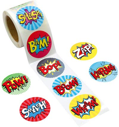 Superhero stickers for prizes and rewards kids party, toddler party reward stickers, best toddler party games prizes