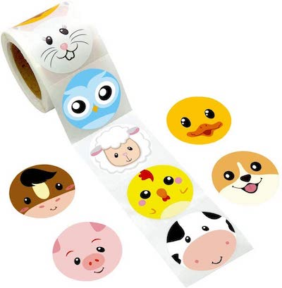 Cute animal face stickers for prizes at a toddler birthday party for toddler party games, best small prizes for toddler birthday party games