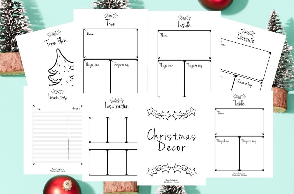 christmas decor planner, free christmas decor planner, christmas planner pdf, christmas planner printables, christmas decor planning, christmas planning printables free