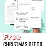 Christmas decor planning PDF printables templates, free Christmas planning templates