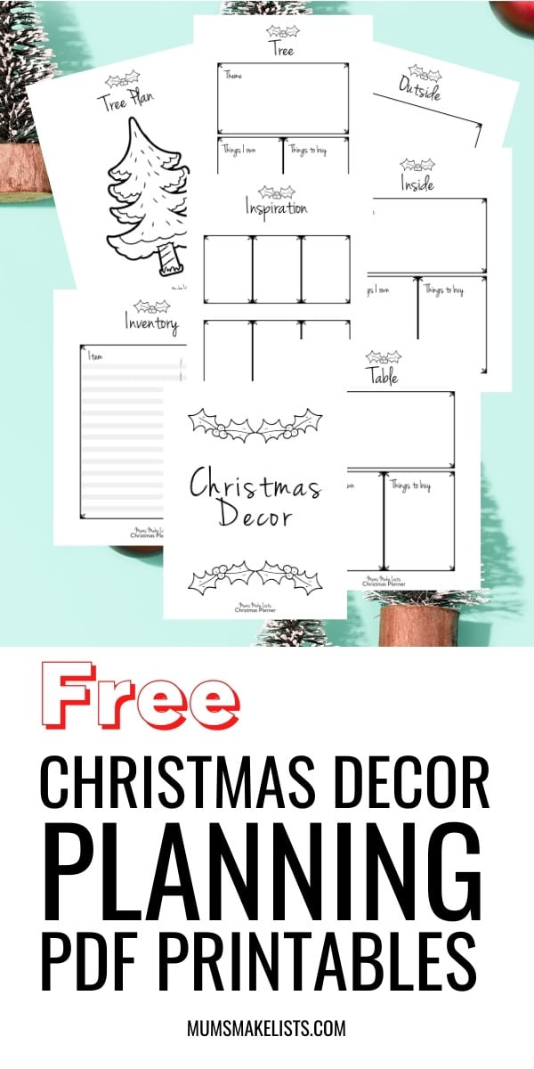 Christmas decor planning PDF printables templates, free Christmas planning templates
