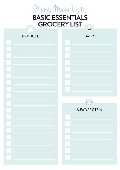 Printable essential grocery list shopping list template, basic shopping list template, food shopping list template