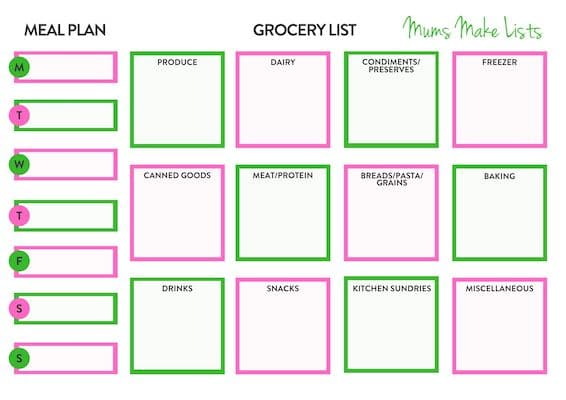 FREE printable grocery list and meal planner, free printable shopping list and meal planner, free PDF FREE printable grocery list and meal planner template, free printable shopping list and meal planner, shopping list template, grocery shopping list template, food list template, basic shopping list template, bright colour shopping list template, groceries list template, weekly shopping list template