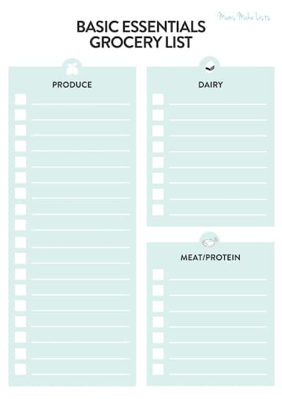 Grocery list printable, blank grocery list printable, simple grocery list template, simple blank grocery list, grocery store checklist