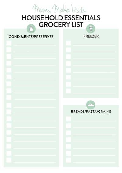 HOUSEHOLD ESSENTIALS GROCERY LIST PDF TEMPLATE PRINTABLE. This is a free printable household shopping list template you can use to create a master list of all the essential items and products you need for cleaning your home, doing the laundry and other housework chores. Print out a copy of this list and write all the essential items onto it. Household shopping list, Basic household shopping list, Household shopping list template, Monthly household shopping list