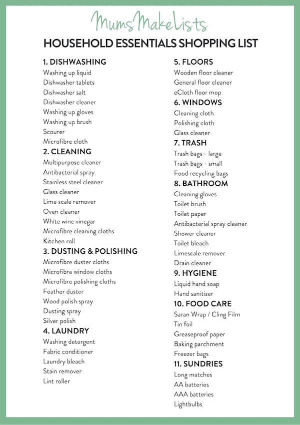 Free printable household essentials shopping list PDF. Household shopping listBasic household shopping listHousehold shopping list templateMonthly household shopping list