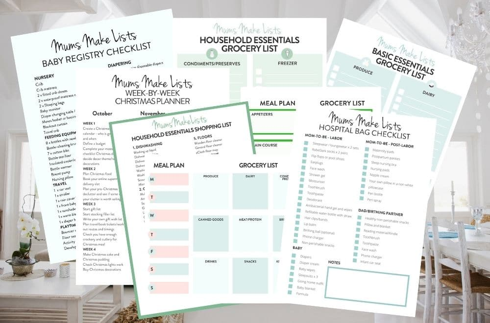 MUMS MAKE LISTS FREE PRINTABLES LIBRARY, free household printables, free printable checklists, free printable templates, free printable pdf household checklists and templates