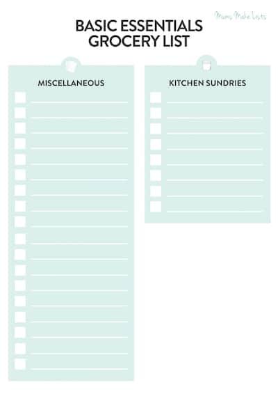 basic grocery list printable, basic grocery list template, basic grocery list checklist, simple basic grocery list, beginner grocery list blank template