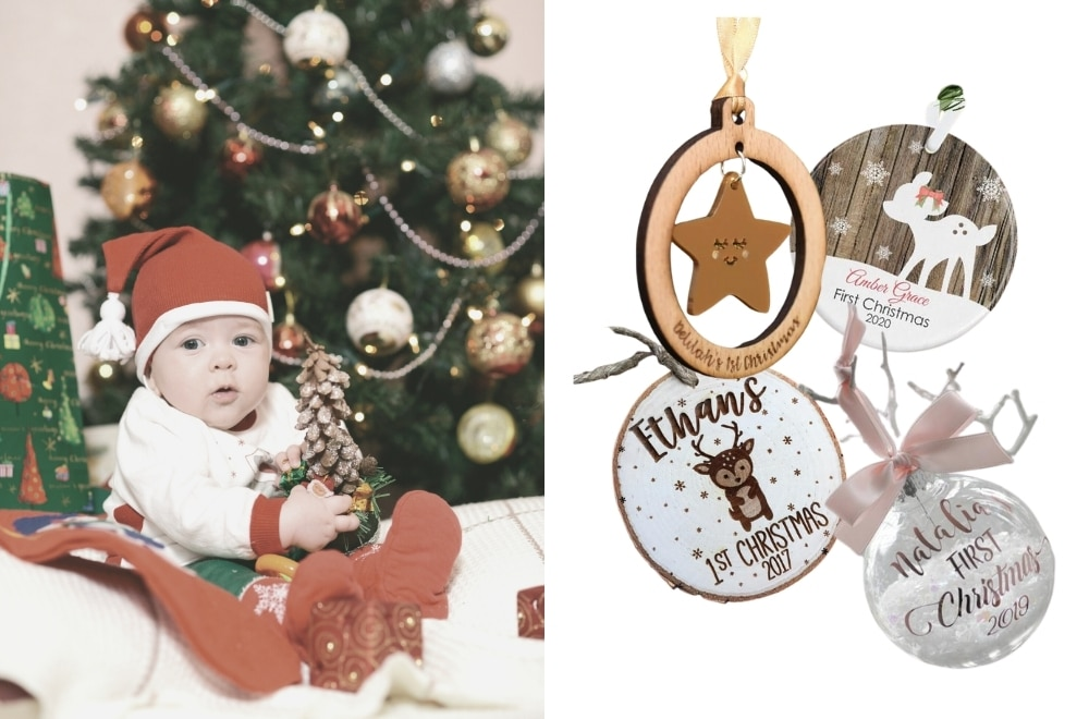 Christmas tree ornaments for baby's first Christmas, personalised Christmas tree baubles