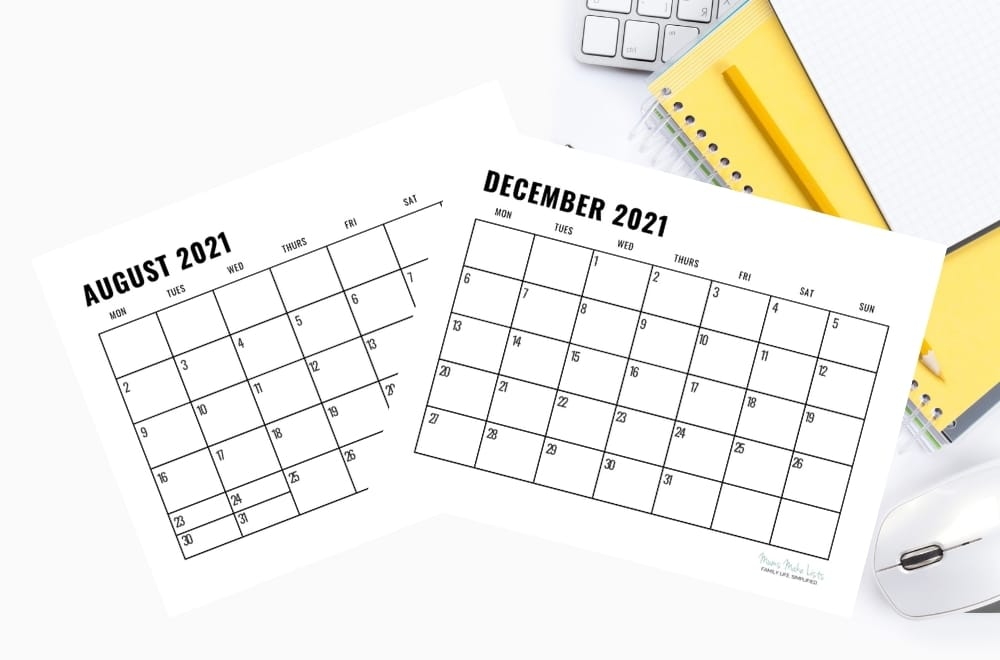 Free printable 2021 calendar, free printable black and white calendar, free printable calendar, simple printable calendar