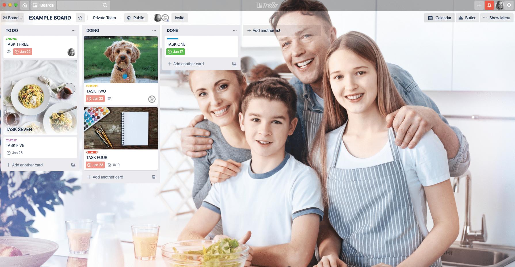 Trello Family, how to use Trello for family organisation, Trello family planner, Trello family organisation board