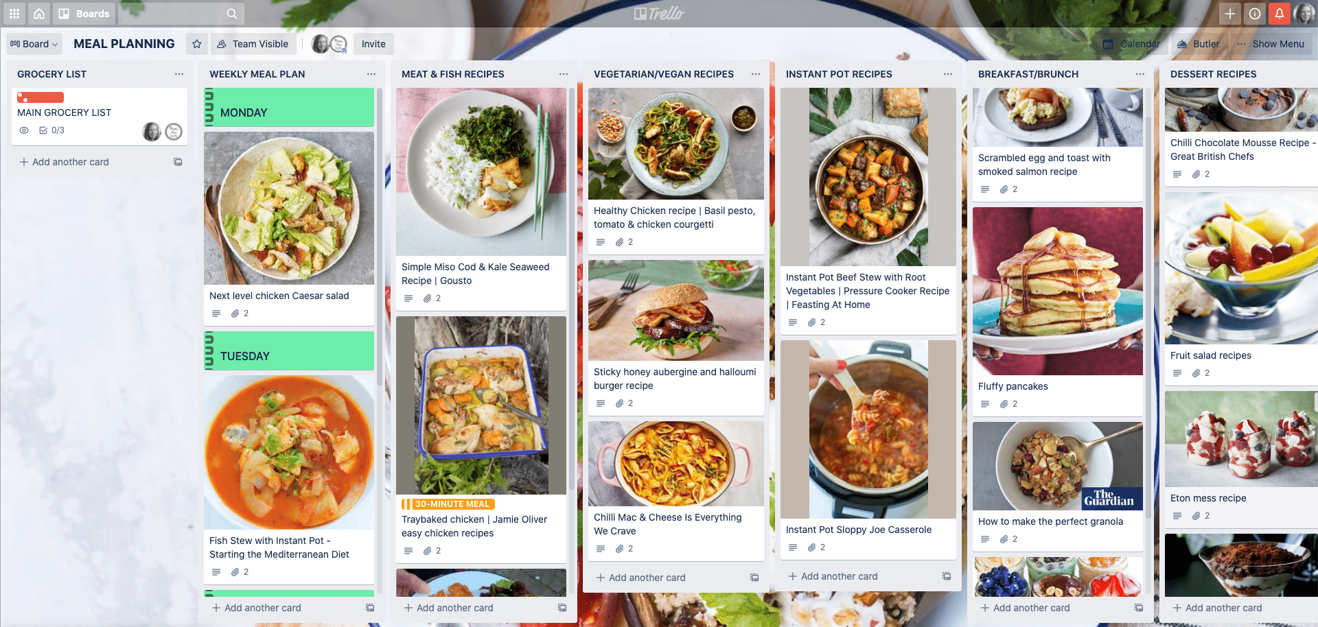 Example of Trello Meal Planning board with recipe lists and recipe cards. Trello Meal Planning Template, How to use Trello for meal planning. Trello family organisation