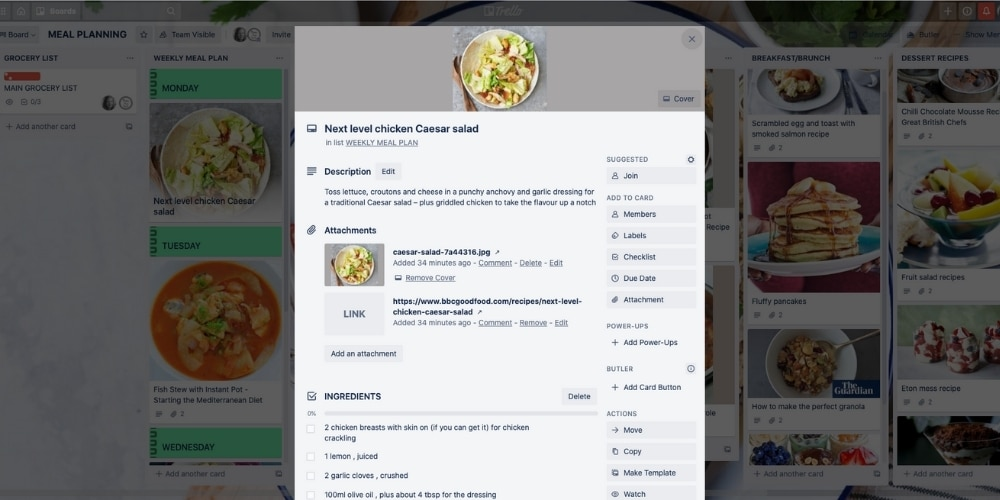 Example of recipe card on Trello meal planning board. How to use Trello for meal planning and creating recipe cards. Family organisation with Trello