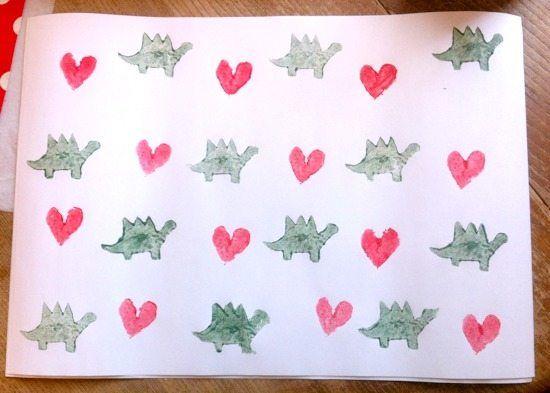 Valentine's Hearts & Dinosaur Potato Stamp Art