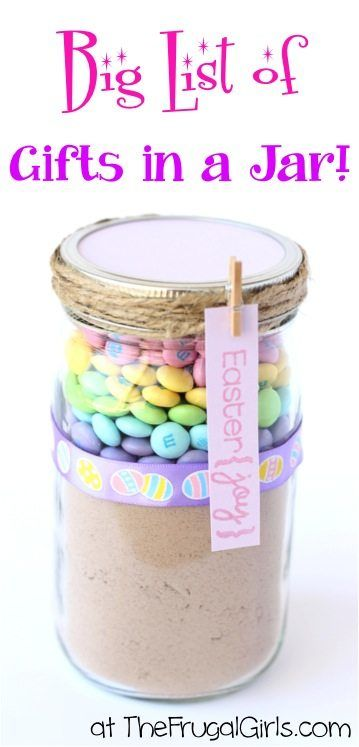 Easter M&Ms in a Mason Jar Easter Gift