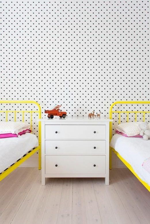 Black and white polka dot wall decals