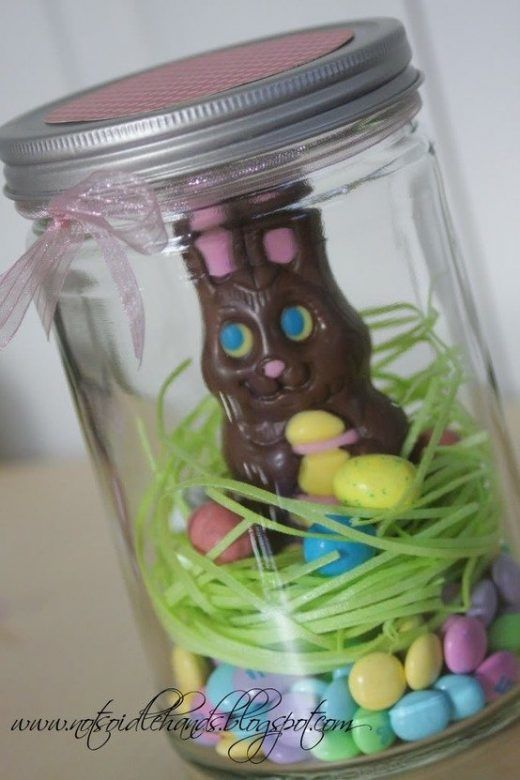 Chocolate Easter Bunny Nest in Mason Jar Easter Gift Idea