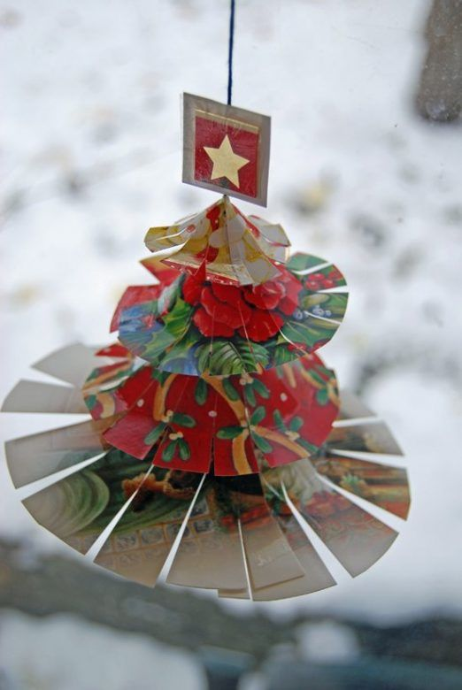 Homemade Christmas decorations ... Christmas card trees