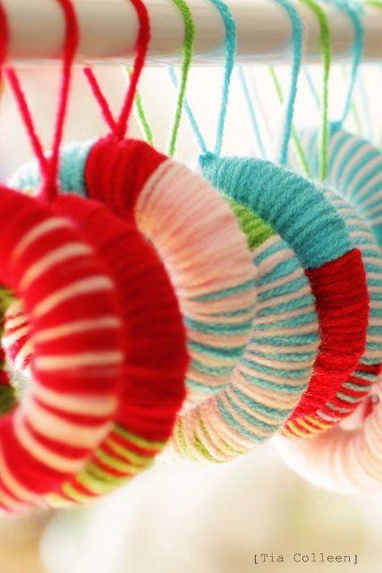 Homemade Christmas decorations ... yarn wreaths
