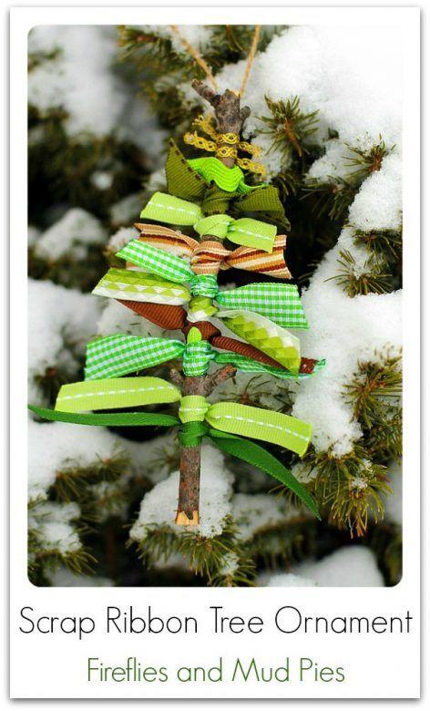 Christmas decorations - lovely homemade scrap ribbon trees