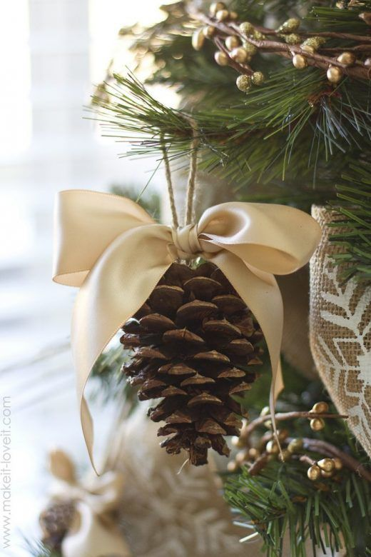 Christmas decorations - lovely homemade pine cone decorations with ribbon bows