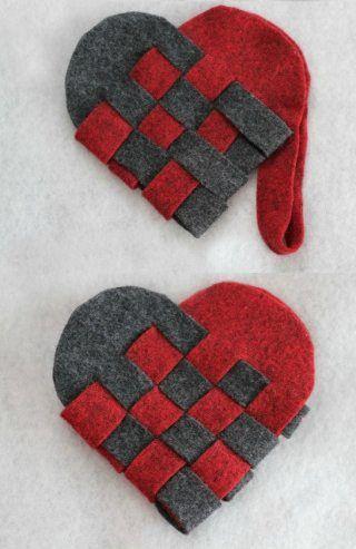 Homemade Christmas decorations ... woven Danish style Christmas hearts