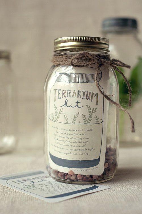 Christmas mason jar gifts - make your own terrarium kit