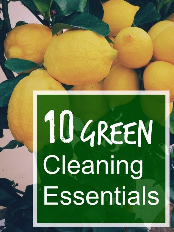 10 green cleaning essentials - keep chemicals to a minimum in your house by using cleaning products made from natural ingredients including, vinegar, lemon, baking soda, citric acid and make use of newspaper instead of using tissue or cloths... but don't forget microfibre cloths are BRILLIANT for cleaning without using anything else on them.