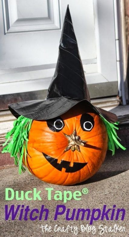 Easy no carve pumpkin for Halloween - duct tape witch