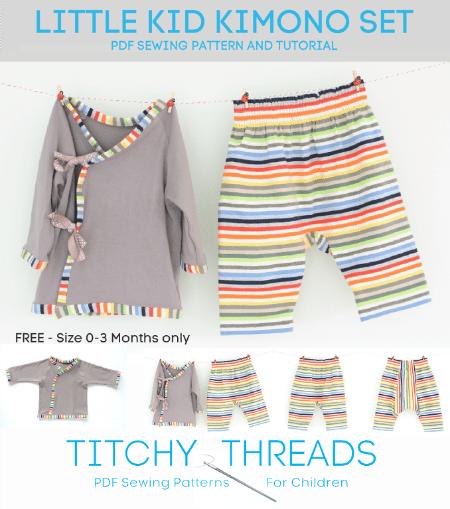 Downloadable Little Kid Kimono Set Pattern for Baby, Free downloadable baby pattern, free downloadable baby kimono set pattern, easy baby kimono set pattern