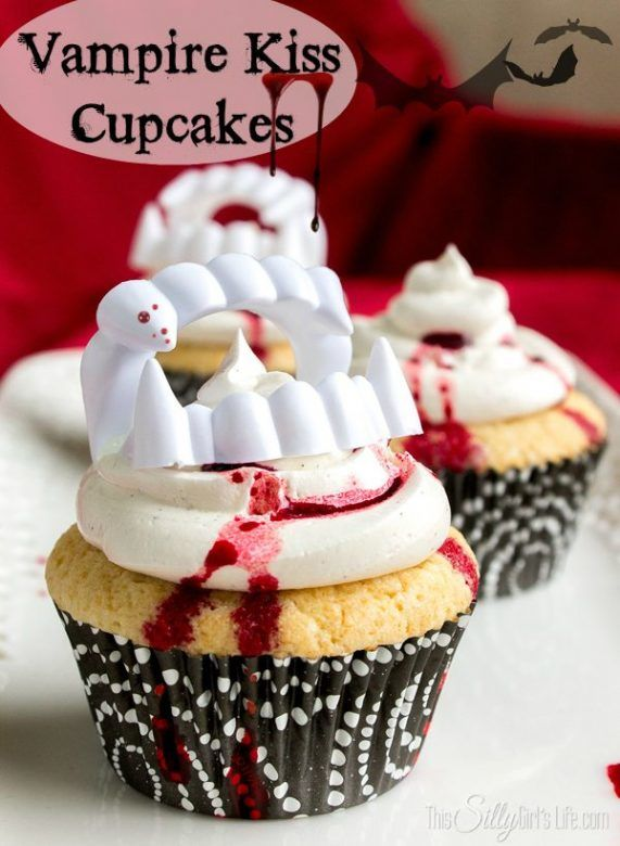 Halloween party food ... vampire kiss cupcakes from This Silly Girl's Life, easy to make Halloween cake recipe
