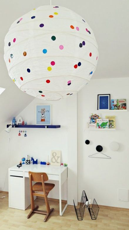 IKEA Regolit Paper Lampshade, Polka Dots, Upcycle IKEA lampshade with polka dot stickers