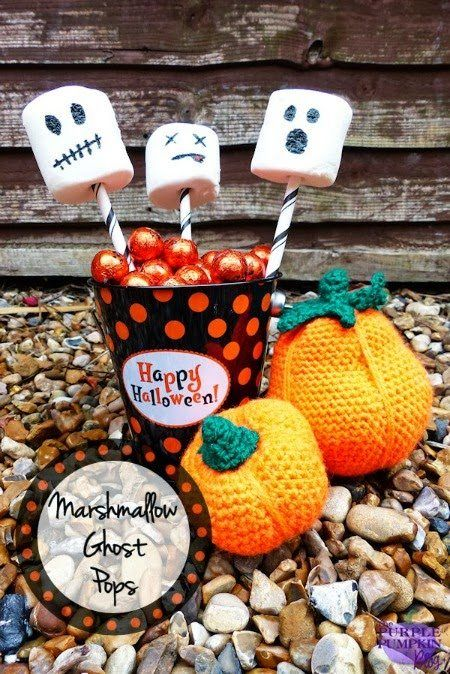 Fun Halloween Party Food - marshmallow ghost pops, fast and easy Halloween food to make with kids