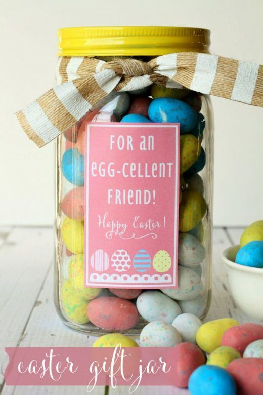 Mini Eggs in Mason Jar Egg-Cellent Easter Gift Idea