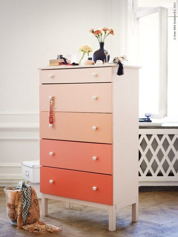 Ikea Aspelund Bed Handleiding ~ Ombre painted IKEA Chest of drawers, IKEA hacks, Kids Room Budget