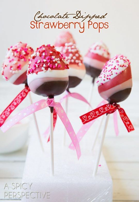 Valentines day chocolate dipped strawberry pops