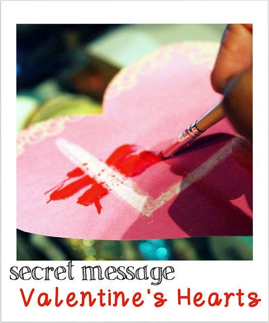 Valentine Day Crafts for Kids - Secret message Valentine Day hearts with white crayons and water colours