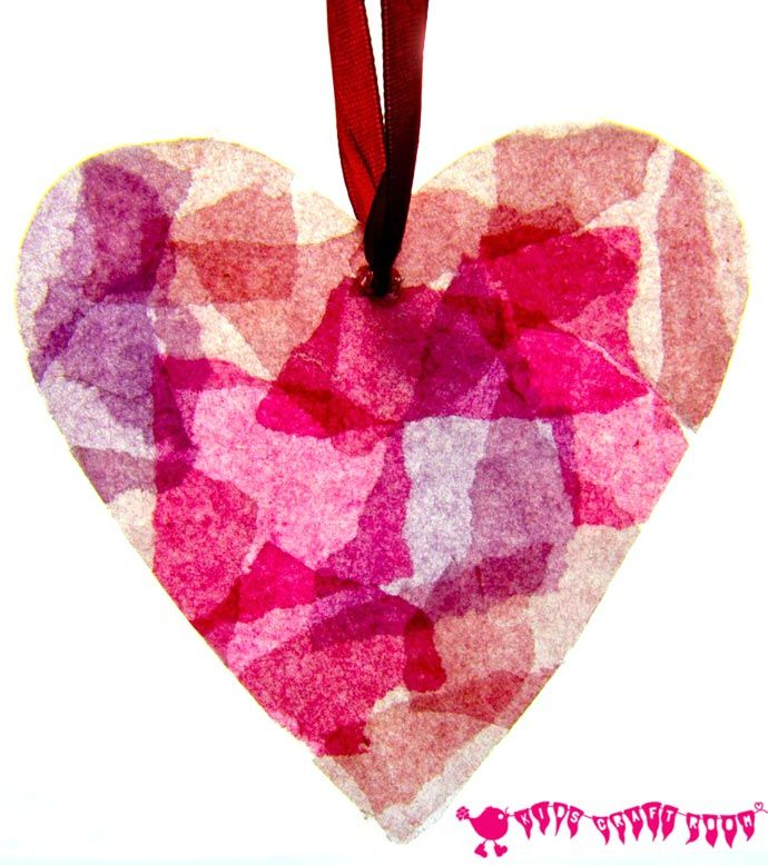 Valentines Day Craft for Kids ... Simple tissue paper stained glass hearts for Valentines Day