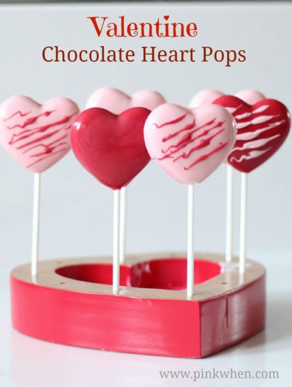 Valentines day chocolate heart pops