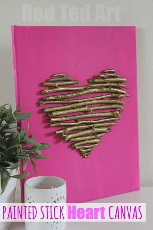 Valentines Day Crafts for Kids ... Painted twigs make a lovely heart canvas for Valentines Day