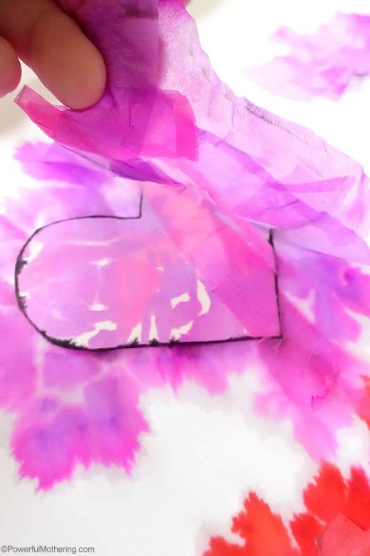 Valentines Day Crafts for Kids ... Beautiful tissue paper bleed Valentines Day hearts